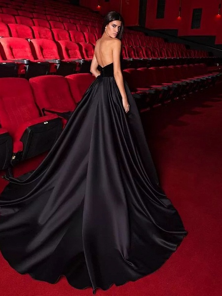 Ball Gown Strapless Court Train Tulle Polyester Strapless Sexy Plus Size Black Modern Wedding Dresses_2