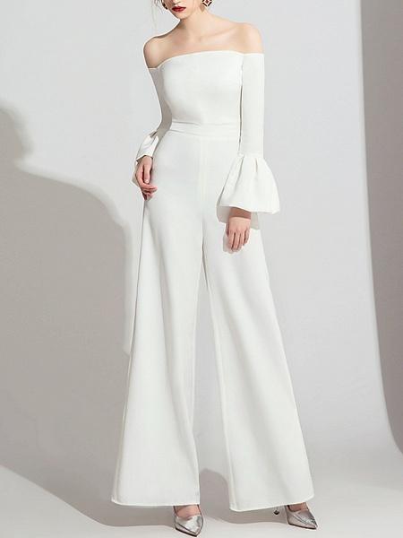 Jumpsuits Wedding Dresses Off Shoulder Floor Length Polyester Long Sleeve Formal Simple_3