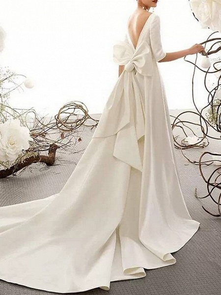 A-Line Bateau Neck Court Train Polyester Half Sleeve Vintage Sexy Wedding Dresses_5