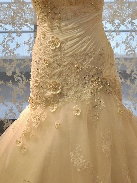 Mermaid \ Trumpet Wedding Dresses Strapless Court Train Lace Organza Stretch Satin Sleeveless Formal_4