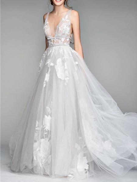 A-Line Wedding Dresses V Neck Floor Length Tulle Sleeveless Casual Plus Size_1
