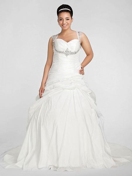 Ball Gown Sweetheart Neckline Chapel Train Taffeta Sleeveless Sparkle & Shine Wedding Dresses_1
