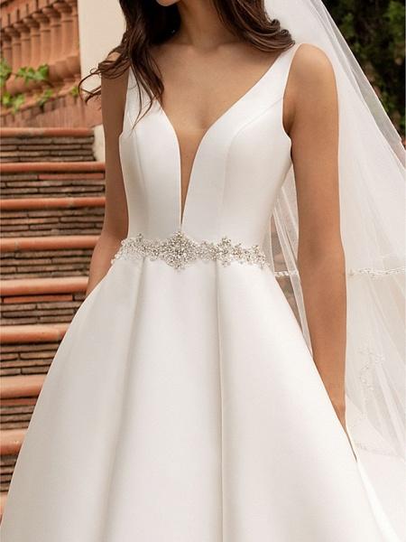 A-Line Wedding Dresses V Neck Court Train Satin Regular Straps Plus Size_3