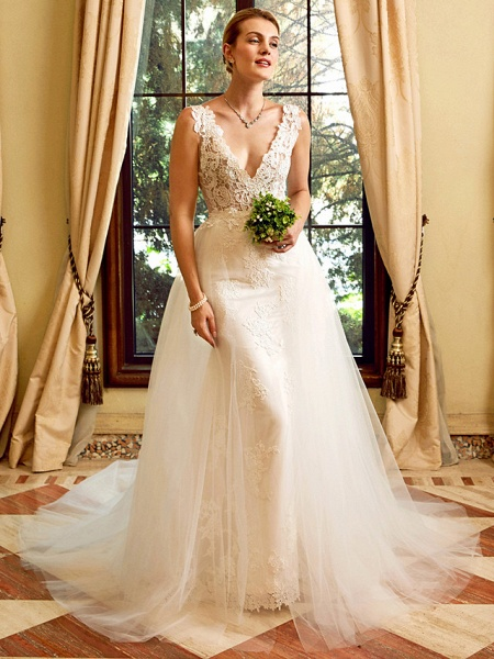 Sheath \ Column V Neck Chapel Train Lace Tulle Regular Straps See-Through Wedding Dresses_1