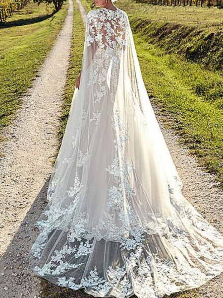 A-Line Wedding Dresses Jewel Neck Sweep \ Brush Train Lace Tulle Cap Sleeve Formal Sexy Backless Cape_2