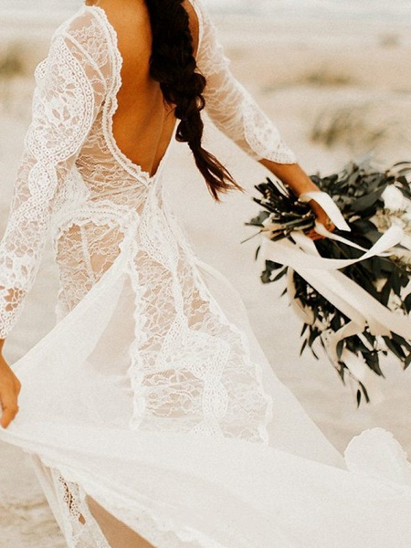 A-Line Wedding Dresses Jewel Neck Sweep \ Brush Train Chiffon Lace Long Sleeve Beach Boho Sexy_2