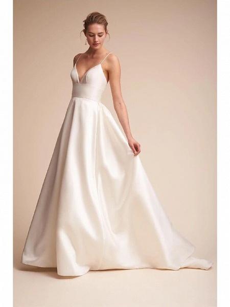 A-Line Wedding Dresses V Neck Court Train Satin Spaghetti Strap Little White Dress Open Back Sexy_1