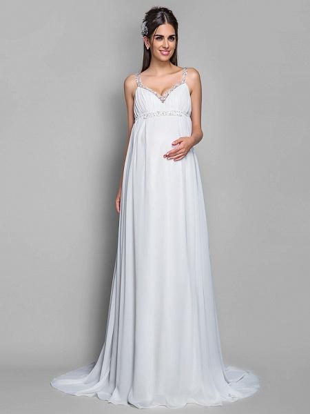 Sheath \ Column Wedding Dresses Spaghetti Strap Sweep \ Brush Train Chiffon Sleeveless_1
