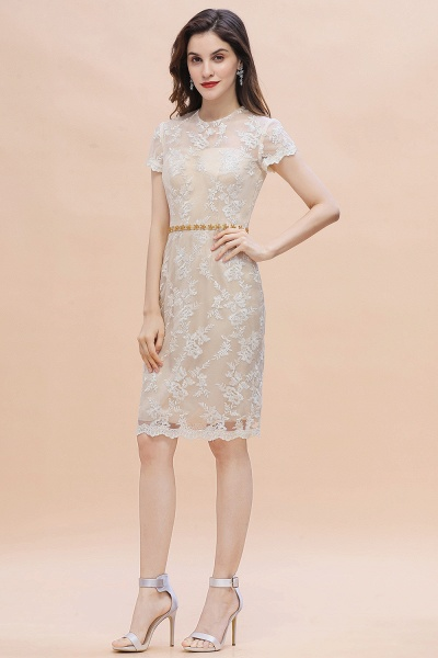 Tulle Lace Beads Belt Short Sleeves Mother of Bride Dress_8
