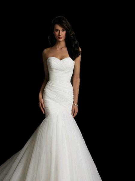 Mermaid \ Trumpet Sweetheart Neckline Court Train Tulle Strapless Simple Sexy Little White Dress Wedding Dresses_3