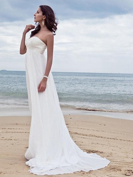 A-Line Wedding Dresses Sweetheart Neckline Court Train Chiffon Strapless Simple Beach Plus Size_4