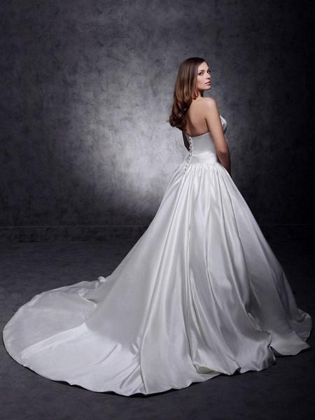 Princess Wedding Dresses Strapless Chapel Train Satin Sleeveless_3