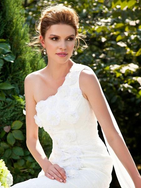 Mermaid \ Trumpet Wedding Dresses One Shoulder Sweep \ Brush Train Lace Sleeveless_5