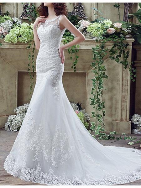Lt7915217 Mermaid Lace Beads Vintage Bohemian Wedding Dress_3