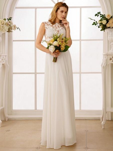 Princess Two Piece Wedding Dresses Jewel Neck Floor Length Chiffon Sleeveless See-Through Beautiful Back Crop Top_5