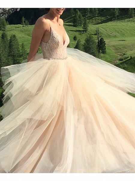 A-Line Wedding Dresses V Neck Spaghetti Strap Sweep \ Brush Train Lace Tulle Sleeveless Sexy_3