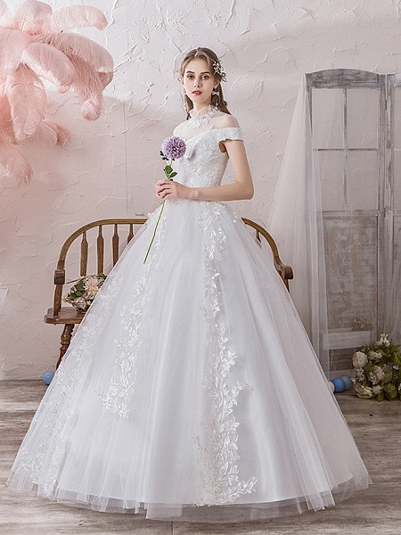 Ball Gown Wedding Dresses High Neck Floor Length Lace Tulle Polyester Sleeveless Formal Romantic_3