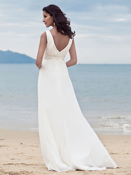 Sheath \ Column Wedding Dresses Straps V Neck Sweep \ Brush Train Floor Length Chiffon Sleeveless_4