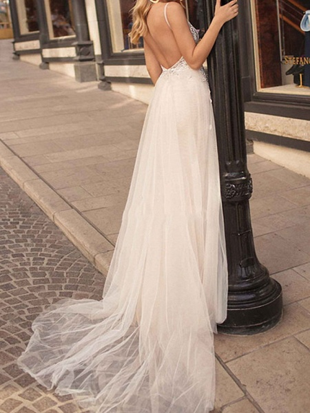 A-Line Wedding Dresses V Neck Court Train Chiffon Tulle Sleeveless Beach Sexy See-Through_2