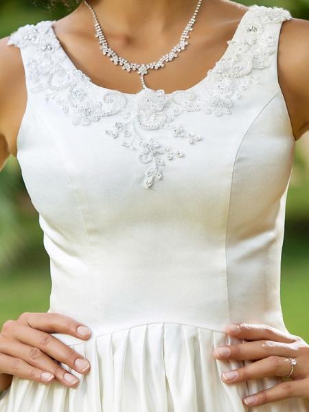 Princess A-Line Wedding Dresses Scoop Neck Asymmetrical Satin Sleeveless_8