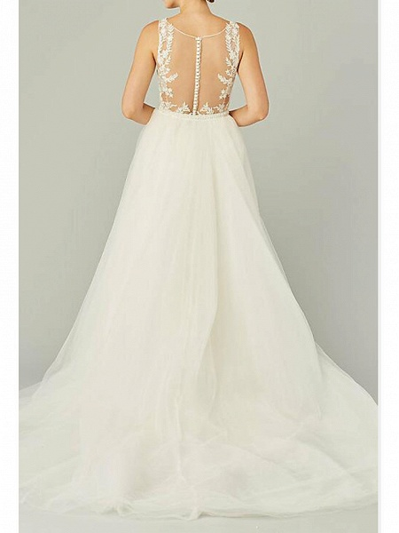 A-Line Wedding Dresses Jewel Neck Sweep \ Brush Train Lace Tulle Sleeveless Country See-Through Plus Size_2