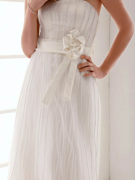 Sheath \ Column Wedding Dresses Strapless Floor Length Organza Sleeveless_6