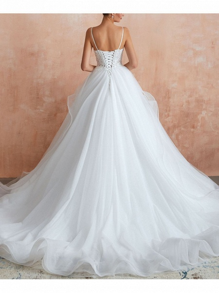 A-Line V Neck Court Train Lace Tulle Sleeveless Sexy See-Through Illusion Detail Wedding Dresses_3