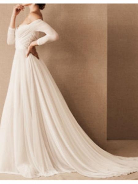 A-Line Wedding Dresses Off Shoulder Sweep \ Brush Train Chiffon 3\4 Length Sleeve Formal Plus Size_1