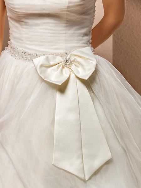 Ball Gown Wedding Dresses Strapless Floor Length Tulle Sleeveless_9