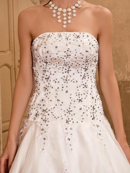 Ball Gown Wedding Dresses Strapless Floor Length Satin Short Sleeve Sparkle & Shine_9