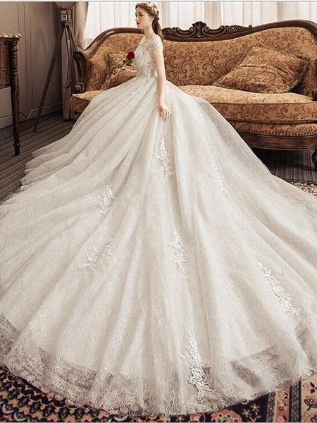 Ball Gown Jewel Neck Watteau Train Lace Tulle Polyester Short Sleeve Romantic Wedding Dresses_4
