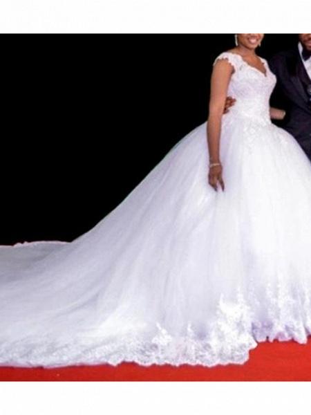 A-Line Wedding Dresses V Neck Court Train Lace Regular Straps_2