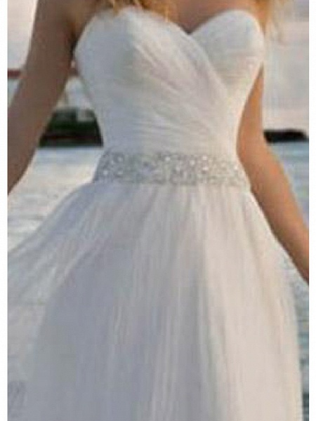 A-Line Wedding Dresses Strapless Knee Length Chiffon Taffeta Stretch Satin Sleeveless Vintage Plus Size_2