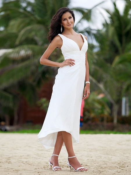 A-Line Wedding Dresses V Neck Asymmetrical Chiffon Spaghetti Strap Formal Casual Backless_4