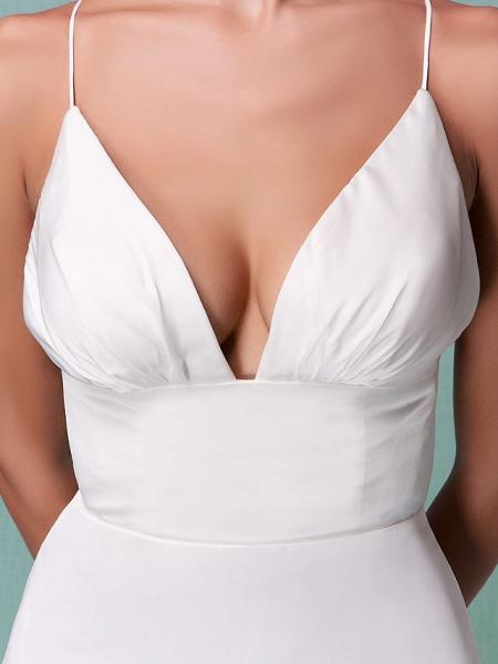 Sheath \ Column Wedding Dresses V Neck Floor Length Chiffon Spaghetti Strap Sexy Backless_5
