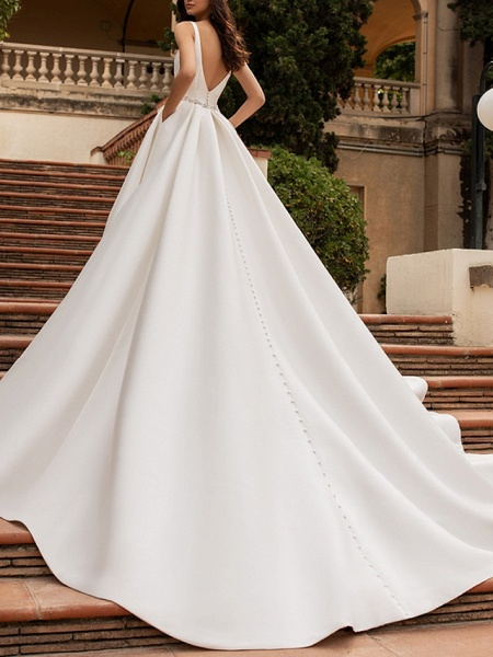 A-Line Wedding Dresses V Neck Court Train Satin Regular Straps Plus Size_2