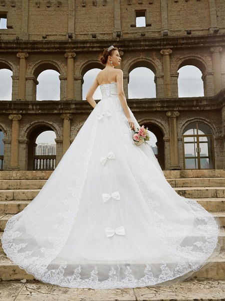 Ball Gown Wedding Dresses Strapless Sweep \ Brush Train Tulle Glitter Lace Strapless Country Sparkle & Shine Backless_4