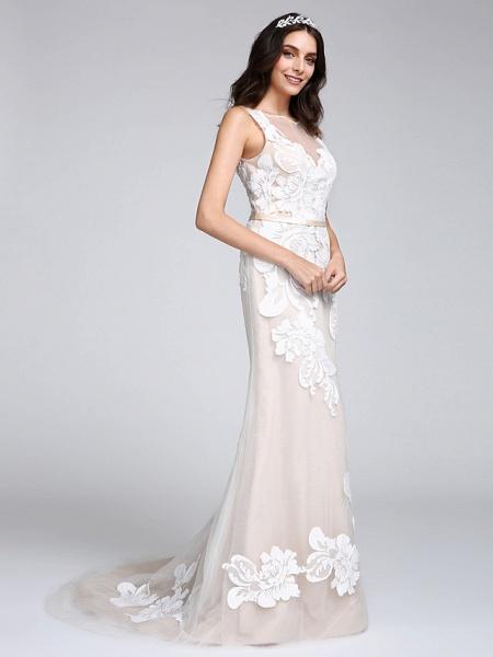 Mermaid \ Trumpet Wedding Dresses Bateau Neck Sweep \ Brush Train Tulle Floral Lace Regular Straps Romantic Boho Sexy See-Through Illusion Detail_3