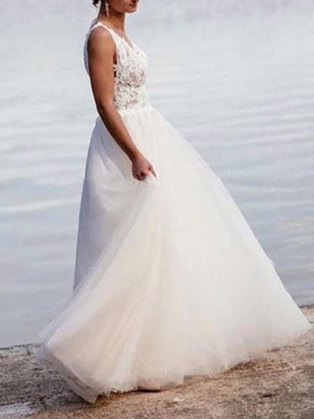 Lt8036472 V-neck A-line Romantic Bohemian Wedding Dresses 2021_3