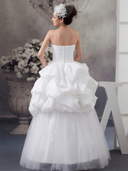A-Line Sweetheart Neckline Floor Length Lace Satin Tulle Strapless Wedding Dresses_3