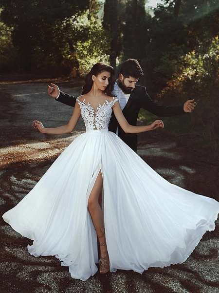 A-Line Wedding Dresses V Neck Court Train Chiffon Lace Cap Sleeve Country Romantic Sexy See-Through Backless_2