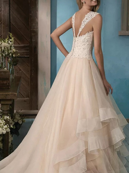 Ball Gown Wedding Dresses Sweetheart Neckline Court Train Lace Satin Tulle Sleeveless Formal_2