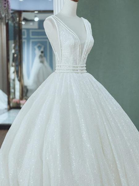A-Line Wedding Dresses V Neck Court Train Tulle Sequined Regular Straps_2