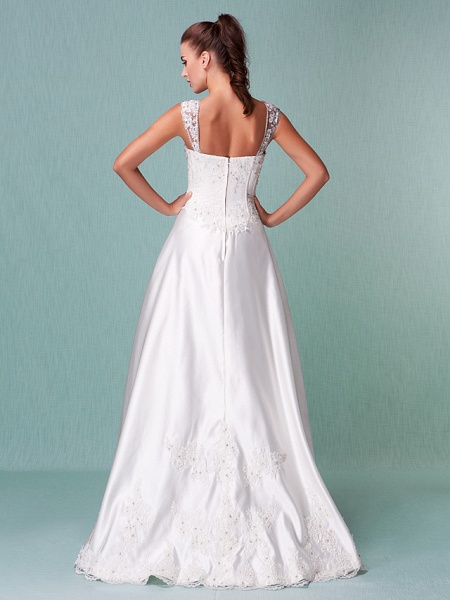 Lt14001 Simple Boho Ball Gown Wedding Dress_2