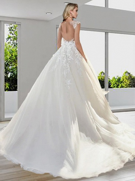 Ball Gown A-Line Wedding Dresses Jewel Neck Sweep \ Brush Train Lace Tulle Short Sleeve Sexy See-Through Backless_2