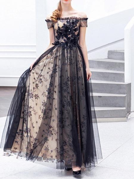 A-Line Wedding Dresses Off Shoulder Floor Length Lace Tulle Regular Straps Formal Black_1