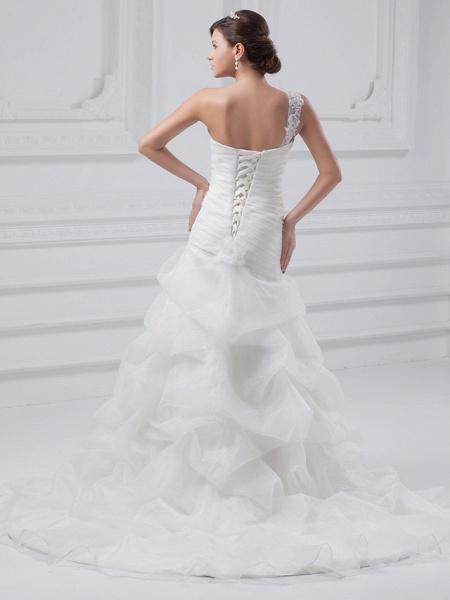 A-Line One Shoulder Court Train Organza Satin Spaghetti Strap Wedding Dresses_3