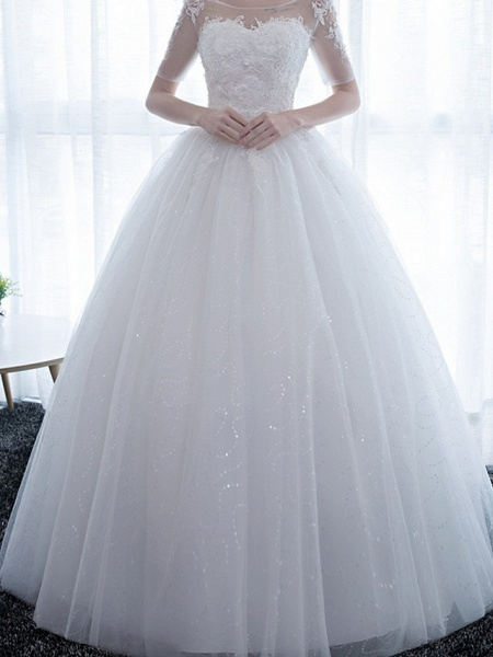 Ball Gown Wedding Dresses Scoop Neck Floor Length Satin Lace Over Tulle Half Sleeve Simple Backless_5