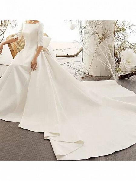 A-Line Wedding Dresses Bateau Neck Court Train Satin Half Sleeve Vintage Illusion Detail Plus Size_3