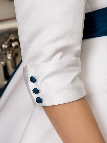 A-Line Wedding Dresses Bateau Neck Knee Length Satin 3\4 Length Sleeve Simple Casual Vintage Plus Size Cute_9